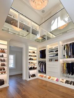 Two Story Interior Designs Closet Lighting Showcase your clothing and shoes in style with the top 50 best closet lighting ideas. Explore illuminated interiors featuring led strips to chandeliers. Walk In Closet Design, Closet Designs, Master Closet Design, Closet Lighting, Bedroom Lighting, Master Bedroom Closet, Luxury Master Bedroom, Bedroom Closets, Dream Closets