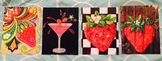 """WHAT A GREAT GIFT !!!             package of 4    5 1/2"""" x 4 1/4"""" glossy Hand Painted ORIGINALStrawberry  NOTE CARDS.  plain on back for your special note.  Envelopes included and packaged in cellophane and tied with burlap with a DoDo Bird Art tag    $13.00  plus ship"""