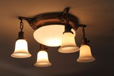 Vintage Lighting Fixtures for Home | Colonial Revival 1920s pan light with original shades (Courtesy ...