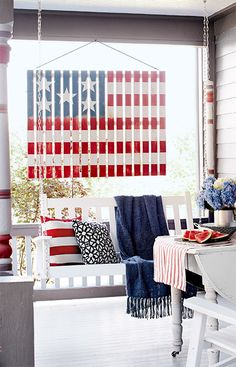 Celebrate the Fourth of July by hanging this flag-theme decoration you can build from pre-cut lumber.