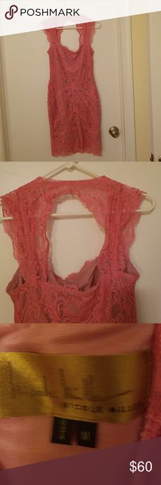 Nicole Miller pink layered lace cocktail dress Nicole Miller pink layered lace cocktail dress stretch with key hole back absolutely beautiful! Size medium excellent condition Nicole Miller Dresses