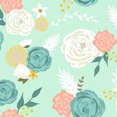 Summer blooms fabric by >>mintpeony<< on Spoonflower - custom fabric