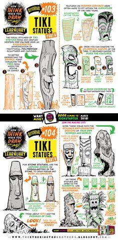 How to draw TIKI STATUES tutorial by STUDIOBLINKTWICE.deviantart.com on @DeviantArt