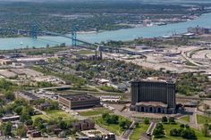Train Station Ambassador Bridge Aerial Detroit Neighborhoods, Lake Boats, Detroit History, Train Station, View Image, Rooftop, Paris Skyline, Michigan, Sunrise