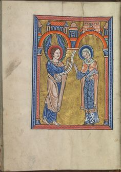 Images from the life of Christ - The Annunciation, Gabriel announces Christ's birth to Mary - Psalter of Eleanor of Aquitaine (ca. 1185) - KB 76 F 13, folium 014v.