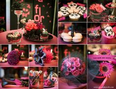 Pink, black, punk, rock, wedding desig