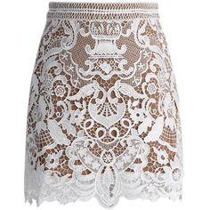 Chicwish Baroque Crochet Lace Bud Skirt (4705 RSD) ❤ liked on Polyvore featuring skirts, bottoms, saias, faldas, multi, macrame skirt, white skirt, chicwish skirt, white crochet skirt and baroque skirt