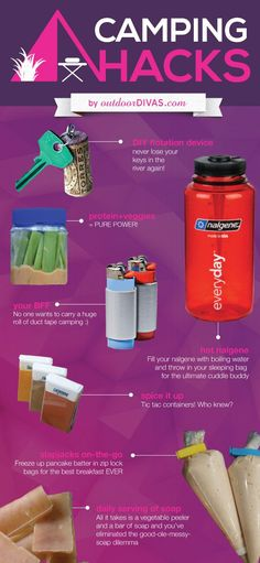 Camping Hacks [infographic] - Outdoor Divas - Womans outdoor apparel, clothing and gear Colorado
