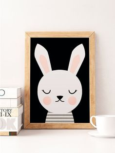 Rabbit print Cute rabbit Animals print Scandinavian by NorseKids