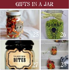 48 Homemade Gifts in a Jar    Homemade gifts in a jar is an easy and inexpensive way to make homemade gifts!  Simply layer the ingredients for any of these recipes in a jar, add a ribbon and a tag, and you have a simple but stylish gift.  Voila!  Here are 48 homemade gifts in a jar complete with recipes and lots of pictures so you can make them at home for your friends and family.