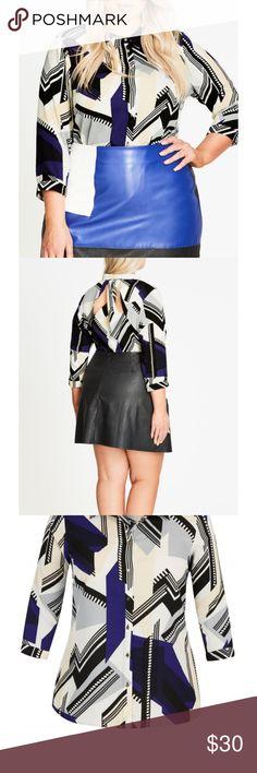 Multi colored quarter sleeve blouse Super cute back cut out detail City Chic Tops Blouses