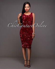 Zilya Wine Red Velvet Sequins Midi Dress