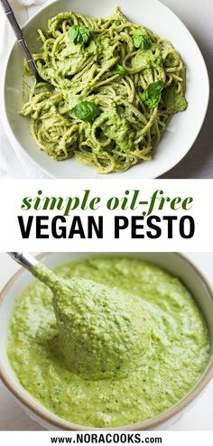 Vegan Pesto Recipe, oil free and made with cashews for a cheesy, buttery flavor!Easy Vegan Pesto Recipe, oil free and made with cashews for a cheesy, buttery flavor! Vegan Sauces, Vegan Foods, Vegan Dishes, Vegan Recipes Easy, Whole Food Recipes, Easy Pesto Recipe, Recipes With Pesto, Non Dairy Pesto Recipe, Vegan Recipes For Dinner