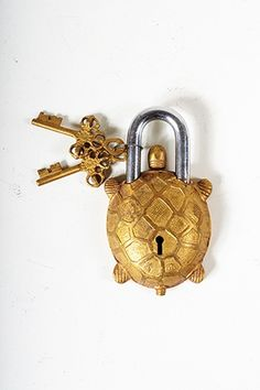 Indian, brass, turtle shaped working padlock - Fenton and Fenton Under Lock And Key, Key Lock, 3d Cnc, Old Keys, Knobs And Knockers, Turtle Love, Vintage Keys, Key To My Heart, Or Antique