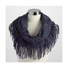 Cost Plus World Market Navy Fringe Infinity Scarf ($20) ❤ liked on Polyvore featuring accessories, scarves, blue, long infinity scarf, tube scarves, circle scarf, circle scarves and loop scarf