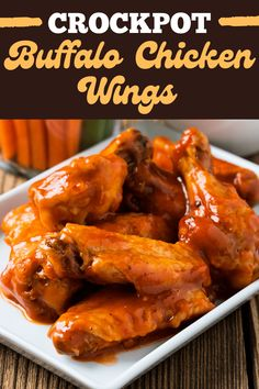 These Crockpot buffalo chicken wings make game day even easier! They're juicy, crisp, and smothered in a delicious sauce. Try the recipe today! Pizza Hut Buffalo Wings Recipe, Buffalo Wings Recipe Crockpot, Homemade Buffalo Sauce, Frozen Chicken Wings, Baked Chicken Wings, Chicken Wing Recipes, Crockpot Recipes, Cooker Recipes, Copycat Recipes