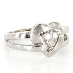 Vintage 14 Karat White Gold Diamond Heart Cocktail Ring Fine Estate Jewelry