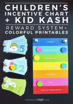 These colorful Child Behavior Chart+ Kid Kash Printables are such a great way for kids to visually see how they're doing! via @somewhatsimple