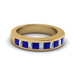 wedding band white diamond with blue sapphire in 14K yellow gold FDENS350BGSABL NL YG