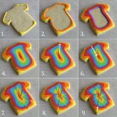Tie Dye Cookies How-To. These look extremely tedious but I might have to try it … Tie Dye Cookies How-To. These look very boring, but I may have to try them one day … So sometimes I decorate Christopher's Christmas cookies. Galletas Cookies, Iced Cookies, Cut Out Cookies, Cute Cookies, Royal Icing Cookies, Cupcake Cookies, Cookie Favors, Baby Cookies, Flower Cookies