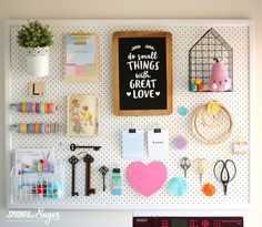 31 Pegboard Ideas for Your Craft Room - Happily Ever After, Etc. - diy ideas, pegboard ideas, craft room ideas, do it yourself - Pegboard Craft Room, Craft Room Decor, Kitchen Pegboard, Hang Pegboard, Painted Pegboard, Kitchen Shelves, Ikea Pegboard, Kitchen Craft, Craft Rooms