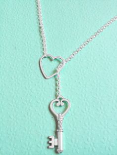 Silver Heart and Skeleton Key Necklace by KananiKouture