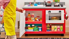 This is such a cute kitchen that can be found on the Lowe's website. They give you all the materials you will need and the cutting sizes, etc.