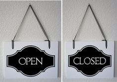 """Open Closed sign for business Interior Double Sided Hanging Wood Sign 11""""x9"""" Store boutique Retail shop"""