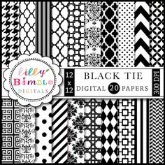 Black Tie Digital Scrapbook Papers for cards, design and crafts Commercial Use Included. $5.00, via Etsy.