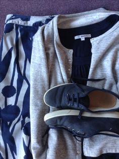 navy top, grey Agnes B sweatshirt cardi, navy & grey Boden skirt, navy lace- ups Navy Lace, Lace Up, Navy Tops, Capsule Wardrobe, Grey, Sweatshirts, Collection, Gray, Sweatshirt