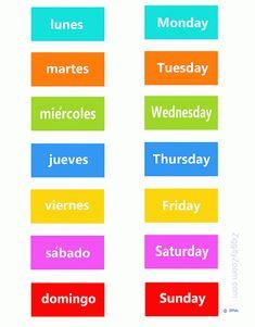 Spanish English Days of the Week -