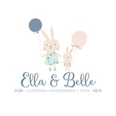 Premade Logo - Balloons & Bunnies Logo Design - Customized with Your Business Name!