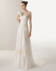 8K126 ISIS | Wedding Dresses | 2015 Soft Collection | Rosa Clara | Chiffon dress, with intricate beadwork embroidery on bodice overlay, in ivory.