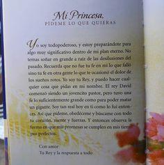 """Mi princesa, pídeme lo que quieras.  Una carta de Dios para ti. ¡Leela! #lecturadeldía Libro de #SheriRose """"Cartas de amor de tu Rey"""""""