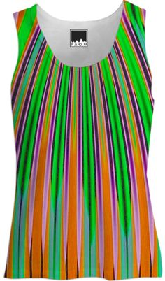 Orange Green Stripe Tank Top from Print All Over Me