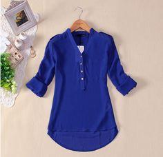 new women spring auturn V-neck chiffon elegant all-match solid botton casual shirt blouse white blusas femme plus size