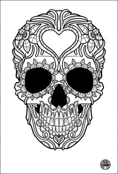Printable Sugar Skull Coloring Pages Lovely Free Coloring Page Coloring Adult Tatouage Simple Skull Free Adult Coloring Pages, Mandala Coloring Pages, Coloring Pages To Print, Free Printable Coloring Pages, Colouring Pages, Coloring Books, Free Printables, Kids Coloring, Coloring Sheets