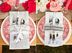 A DIY picnic wedding shoot at Moonshine Hill assembled by Wedding 101 with some of their favorite ideas put forth! Diy Place Settings, Pink Table Settings, Wedding Place Settings, Wedding Shoot, Diy Wedding, Wedding Ideas, Dream Wedding, Wedding Cutlery, Custom Napkins
