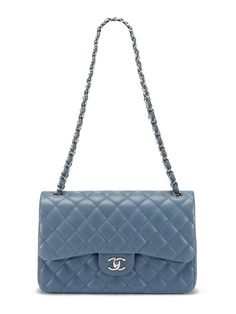 Chanel Blue Grey Lambskin Classic Jumbo 2.55 Double Flap Bag