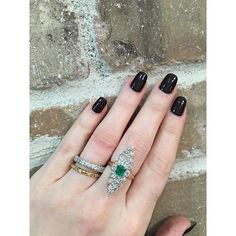 This very unique navette ring is feminine, delicate, and an overall beautiful statement piece.  Featured is our Old European Cut Diamond Navette Ring with a Columbian Emerald Center Stone. *will be added to the shop soon!  Stacked antique bands are both available for purchase on Etsy.  #navette #antiquering #oldeuropeancut #antiquejewelry #weddingband #etched #1900s #1920s