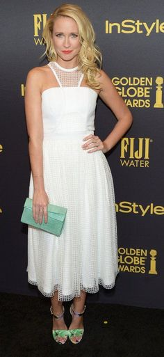 Anna Camp in Thai Nguyen psired with Brian Atwood sandals attends the Hollywood Foreign Press Association and InStyle celebrate the 2017 Golden Globe Award Season. #bestdressed