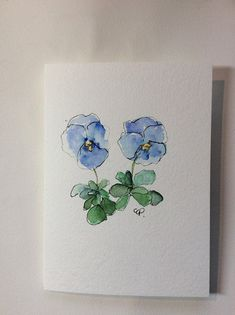 Blue Pansies Watercolor Card Hand Painted Watercolor Card #watercolorarts
