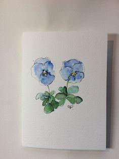 Blue Pansies Watercolor Card Hand Painted Watercolor Card #watercolorarts