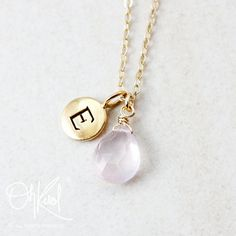 Pink Rose Quartz Necklace  Personalized Necklace  Gold by OhKuol