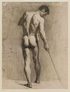 Pierre Adolphe Valette (French, 1876-1942), Life Drawing of a male Nude with Cane, 1910-12, Manchester Art Gallery
