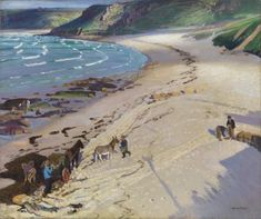 Dame Laura Knight - Gathering Seaweed at Sennen Cove. Paintings I Love, Beautiful Paintings, Watercolour Paintings, Landscape Art, Landscape Paintings, Landscapes, St Just, English Artists, Beach Art