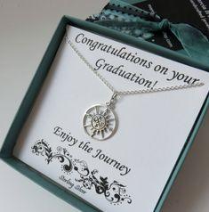 Cadeau de graduation pour elle, argent sterling, lycée graduaton cadeau, cadeau de graduation Collège, boussole collier, grande boussole, compas argent
