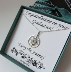 Graduation Gift for Her, Sterling Silver Compass, graduation necklace, compass necklace MarciaHDesigns