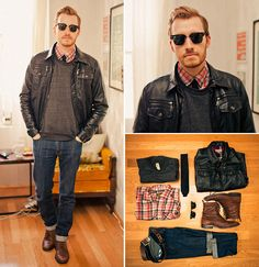 jeans can be baggier if wanted, however the look of sweater with button down underneath - black leather jacket may be something to consider, partners well with preppy.