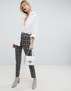 ASOS DESIGN Farleigh High Waist Slim Mom Jeans In Mono Check